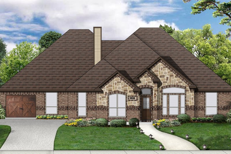Traditional Style House Plan - 4 Beds 3 Baths 2606 Sq/Ft Plan #84-504 Exterior - Front Elevation
