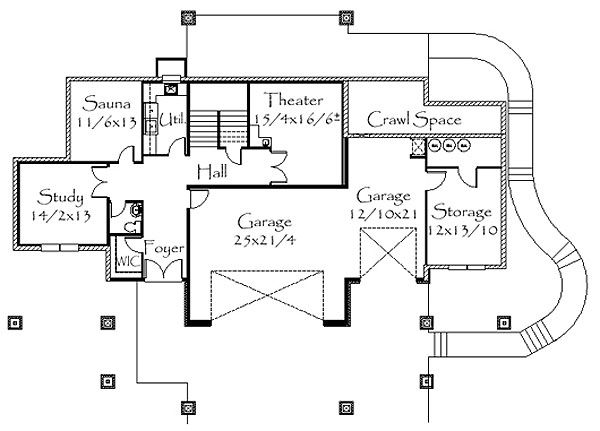 Contemporary Floor Plan - Lower Floor Plan Plan #509-15