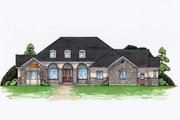 Colonial Style House Plan - 5 Beds 5.5 Baths 3471 Sq/Ft Plan #5-336 Exterior - Front Elevation