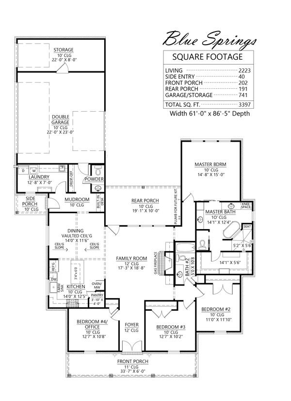 Southern Floor Plan - Main Floor Plan #1074-35