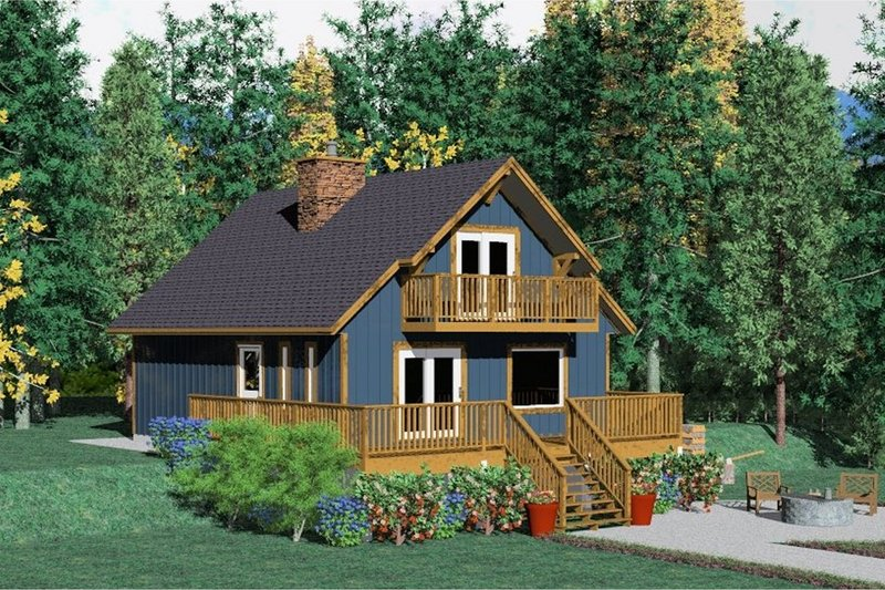 Log Style House Plan - 2 Beds 2 Baths 1362 Sq/Ft Plan #126-107 Exterior - Front Elevation