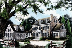 Colonial Exterior - Front Elevation Plan #429-13