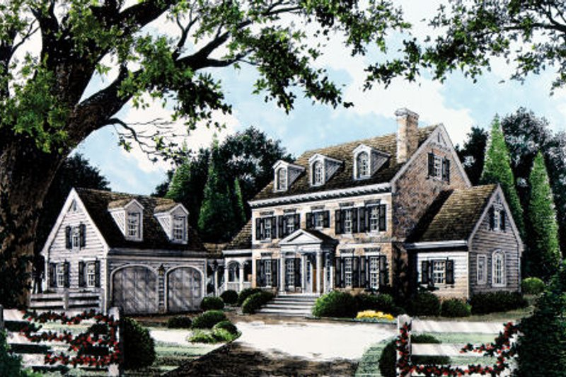 Colonial Style House Plan - 4 Beds 3.5 Baths 2865 Sq/Ft Plan #429-13 Exterior - Front Elevation