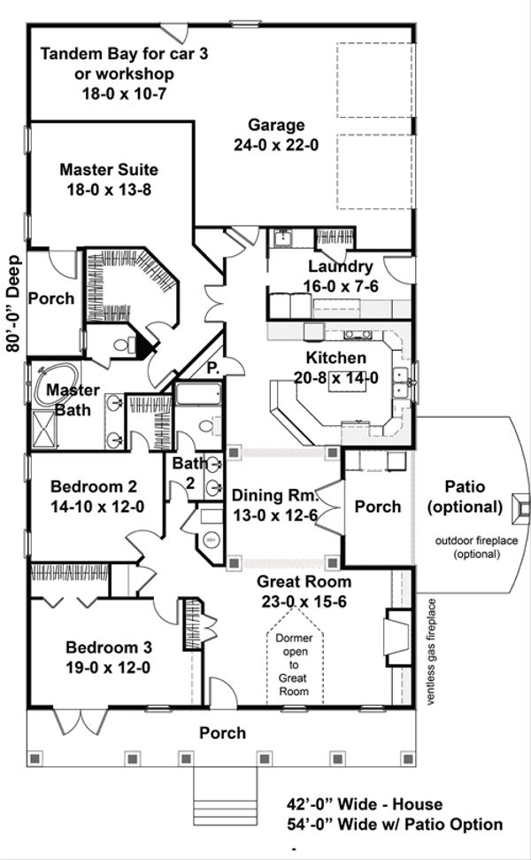 House Plan Design - Traditional Floor Plan - Main Floor Plan #44-163