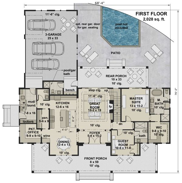 Farmhouse Floor Plan - Main Floor Plan Plan #51-1149
