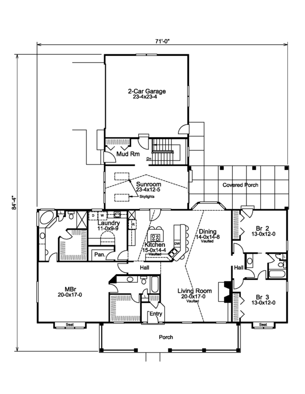 Country Floor Plan - Main Floor Plan Plan #57-577