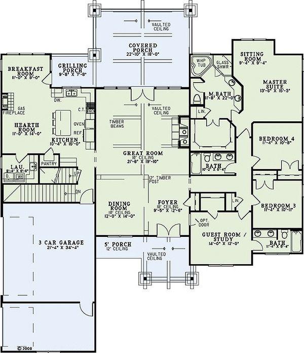 Craftsman Floor Plan - Main Floor Plan Plan #17-2375