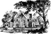 European Style House Plan - 4 Beds 3.5 Baths 3870 Sq/Ft Plan #310-196 Exterior - Front Elevation