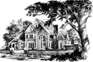 European Exterior - Front Elevation Plan #310-196