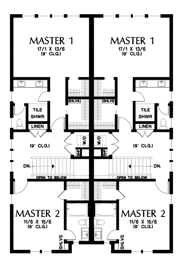 Contemporary Floor Plan - Upper Floor Plan #48-1021