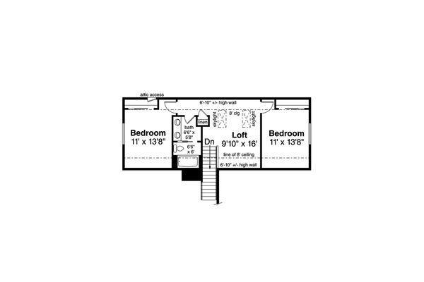Traditional Floor Plan - Upper Floor Plan Plan #124-1162