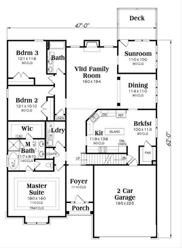 Craftsman Floor Plan - Main Floor Plan Plan #419-252