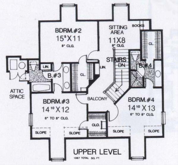 Colonial Floor Plan - Upper Floor Plan #310-918