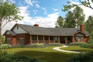 Ranch Exterior - Front Elevation Plan #124-188