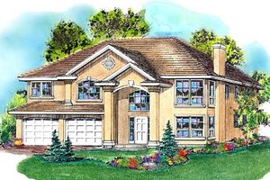 House Plan Design - European Exterior - Front Elevation Plan #18-264