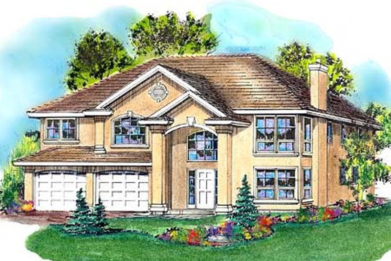 House Blueprint - European Exterior - Front Elevation Plan #18-264