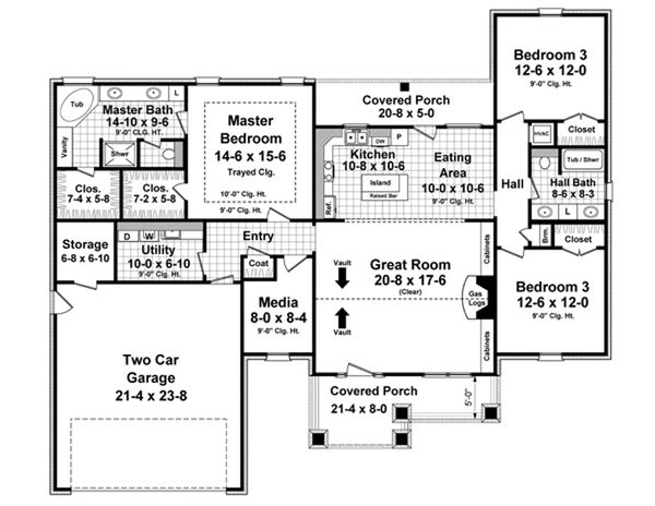 Traditional Floor Plan - Main Floor Plan Plan #21-334