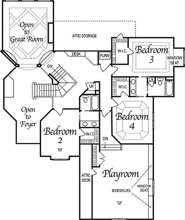 European Style House Plan - 5 Beds 6 Baths 6799 Sq/Ft Plan #458-4 Floor Plan - Upper Floor Plan