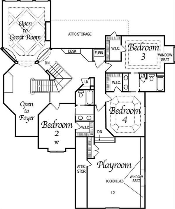 European Floor Plan - Upper Floor Plan Plan #458-4