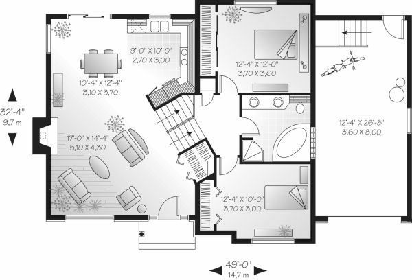 Contemporary Floor Plan - Main Floor Plan Plan #23-709