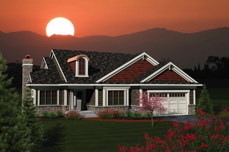 Home Plan Design - Ranch Exterior - Front Elevation Plan #70-1076