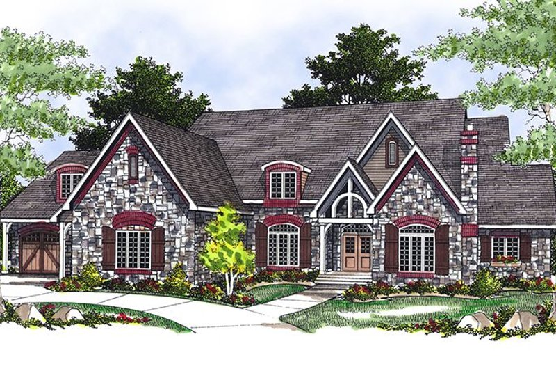 European Style House Plan - 3 Beds 3.5 Baths 3728 Sq/Ft Plan #70-549 Exterior - Front Elevation