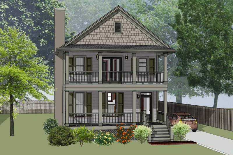 Southern Exterior - Front Elevation Plan #79-229