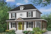 Colonial Style House Plan - 3 Beds 2 Baths 1352 Sq/Ft Plan #23-261 Exterior - Front Elevation