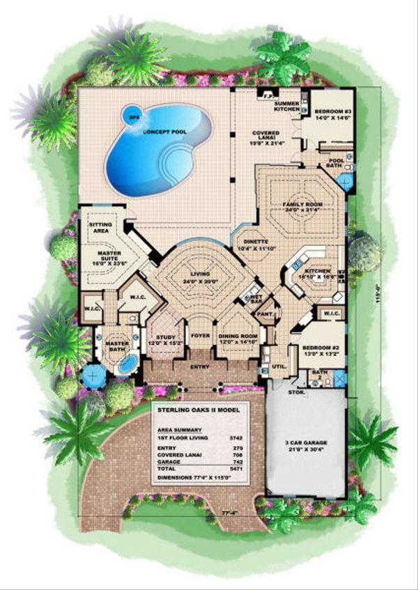 Mediterranean Floor Plan - Main Floor Plan Plan #27-374