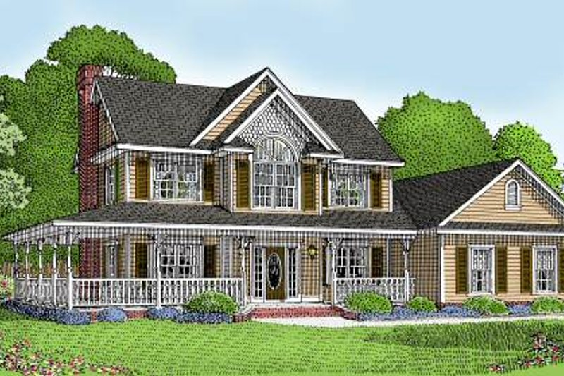 Farmhouse Style House Plan - 3 Beds 2.5 Baths 1840 Sq/Ft Plan #11-202 Exterior - Front Elevation
