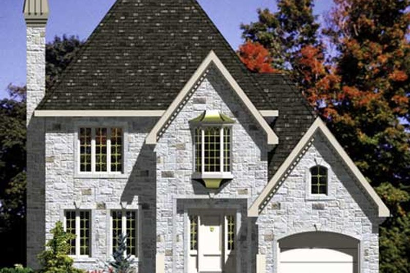 European Style House Plan - 3 Beds 1.5 Baths 1404 Sq/Ft Plan #138-272 Exterior - Front Elevation