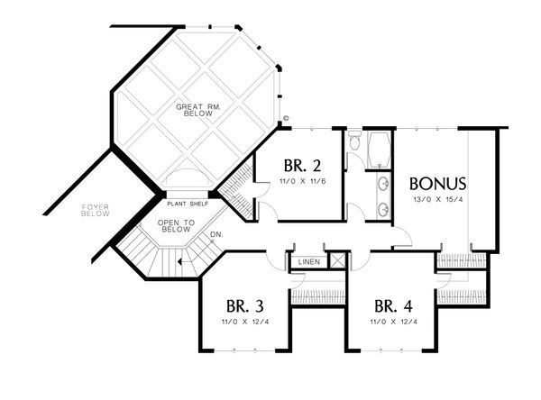 Contemporary Floor Plan - Upper Floor Plan Plan #48-346