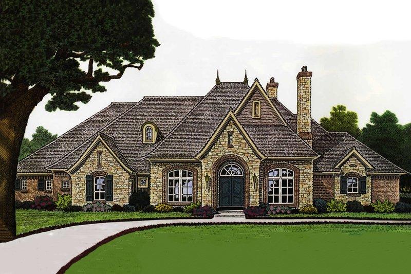 European Exterior - Front Elevation Plan #310-678 - Houseplans.com