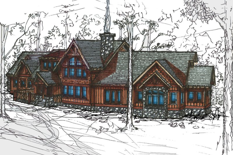 Craftsman Style House Plan - 3 Beds 3.5 Baths 2842 Sq/Ft Plan #921-1 Exterior - Front Elevation