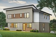 Contemporary Style House Plan - 3 Beds 2.5 Baths 2437 Sq/Ft Plan #48-1009 Exterior - Rear Elevation