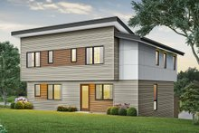 Architectural House Design - Contemporary Exterior - Rear Elevation Plan #48-1009