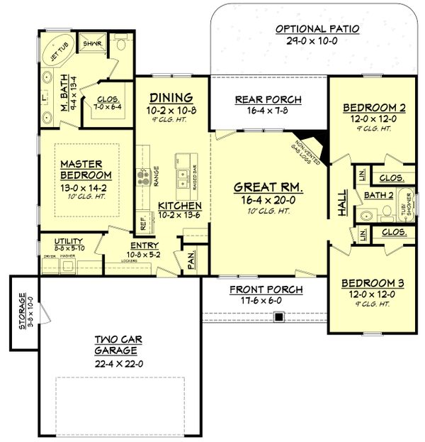 Craftsman Floor Plan - Main Floor Plan Plan #430-96