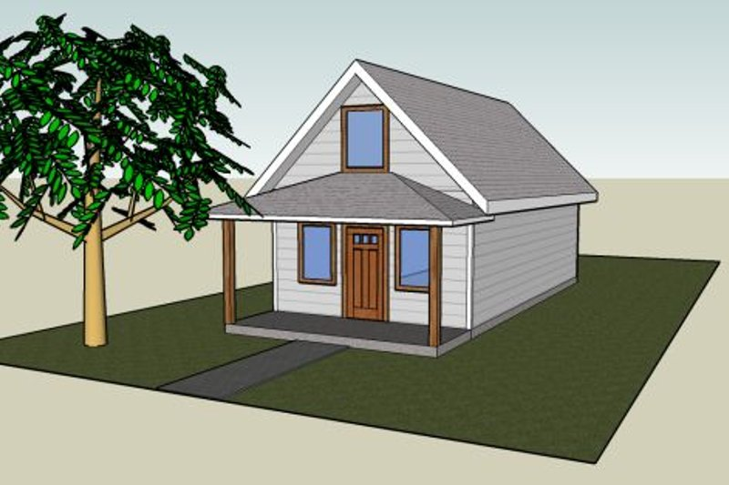 Traditional Style House Plan - 1 Beds 1 Baths 812 Sq/Ft Plan #423-38 Exterior - Front Elevation