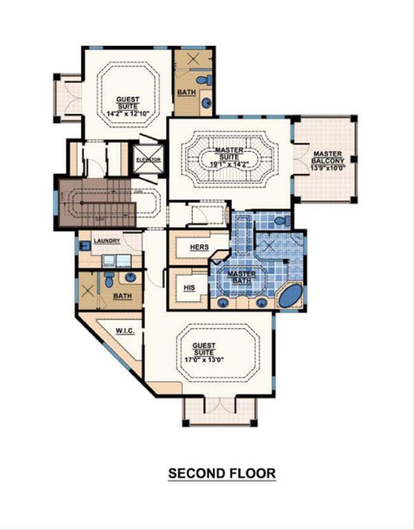Mediterranean Floor Plan - Upper Floor Plan #548-6