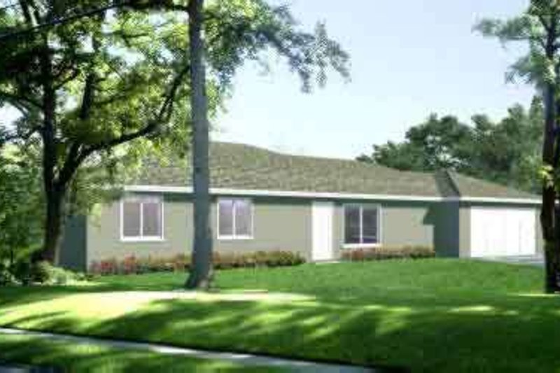 Ranch Style House Plan - 3 Beds 2 Baths 1732 Sq/Ft Plan #1-1341 Exterior - Front Elevation