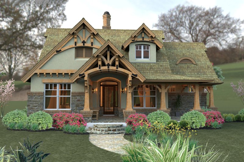 House Plan Design - Storybook craftsman cottage - 1400sft
