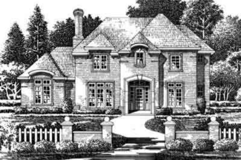 European Style House Plan - 4 Beds 4.5 Baths 3975 Sq/Ft Plan #141-119 Exterior - Front Elevation