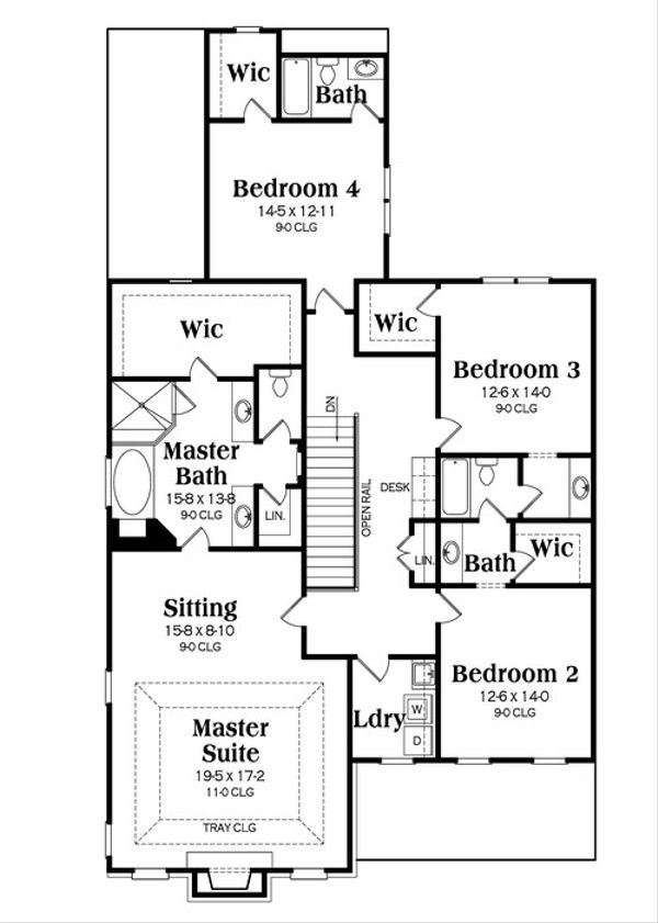 Colonial Floor Plan - Upper Floor Plan Plan #419-251