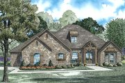 European Style House Plan - 3 Beds 3.5 Baths 2998 Sq/Ft Plan #17-2501 Exterior - Front Elevation