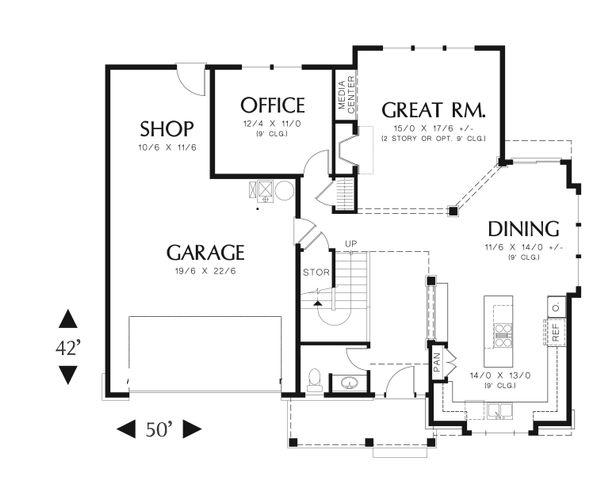 Country Floor Plan - Main Floor Plan Plan #48-635