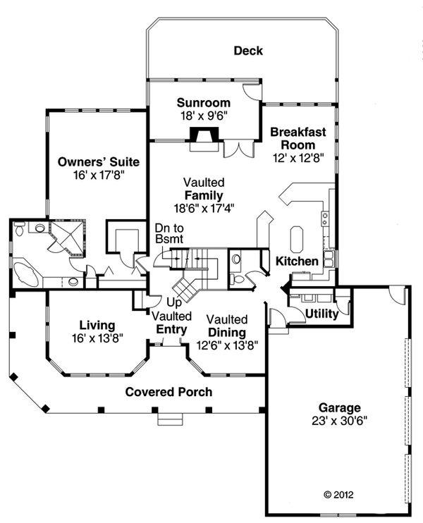 Mediterranean Floor Plan - Main Floor Plan Plan #124-409