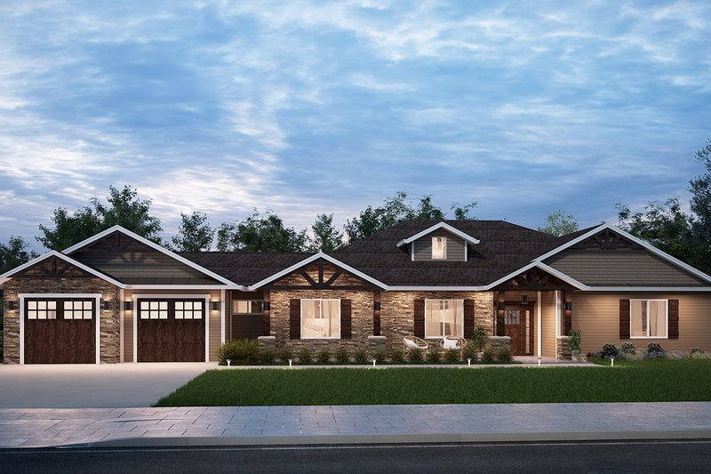 Craftsman Style House Plan - 3 Beds 2 Baths 2298 Sq/Ft Plan #1077-2 Exterior - Front Elevation