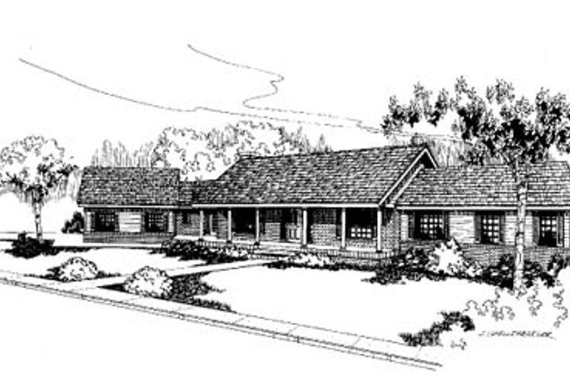 Ranch Style House Plan - 4 Beds 2.5 Baths 2464 Sq/Ft Plan #60-169 Exterior - Front Elevation