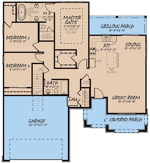 Traditional Floor Plan - Main Floor Plan Plan #923-147