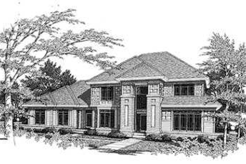Prairie Style House Plan - 4 Beds 3.5 Baths 3070 Sq/Ft Plan #70-481 Exterior - Front Elevation